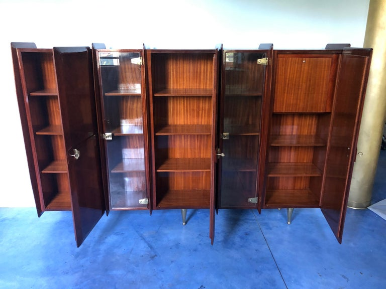 Italian Midcentury Teakwood Sideboard or Bookcase by Vittorio Dassi, 1950s For Sale 12
