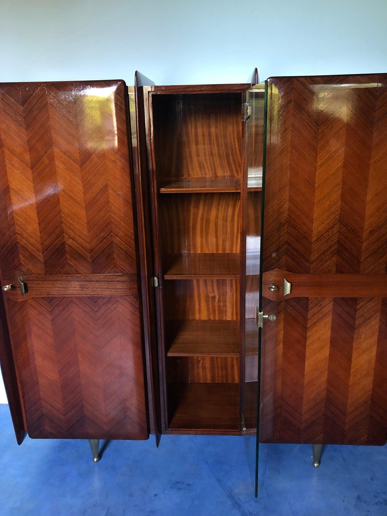 Italian Midcentury Teakwood Sideboard or Bookcase by Vittorio Dassi, 1950s For Sale 14