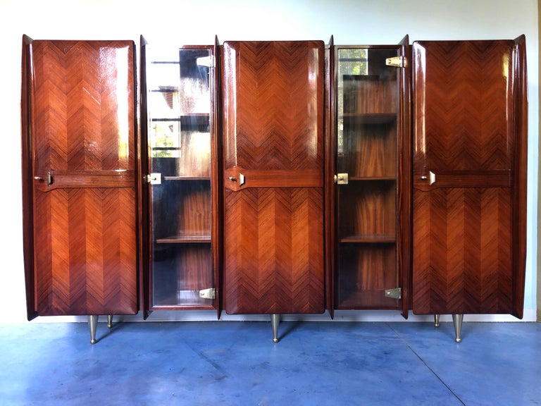 Mid-Century Modern Italian Midcentury Teakwood Sideboard or Bookcase by Vittorio Dassi, 1950s For Sale