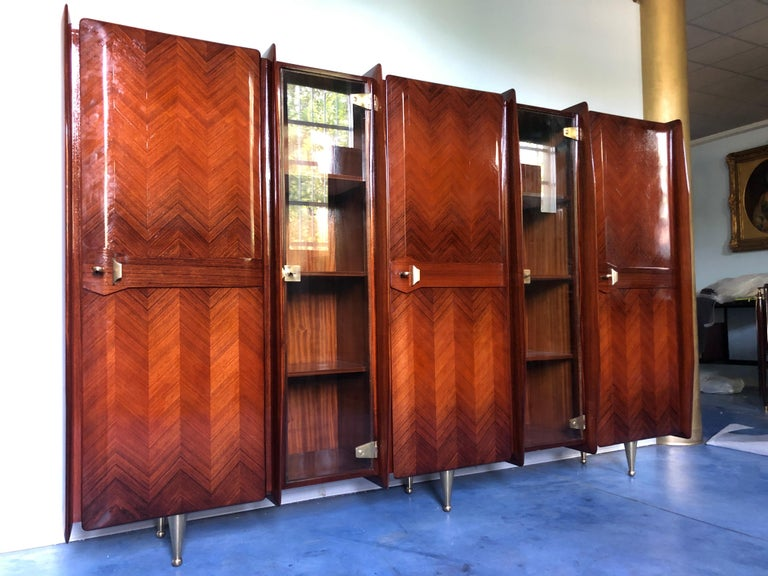 Italian Midcentury Teakwood Sideboard or Bookcase by Vittorio Dassi, 1950s In Good Condition For Sale In Traversetolo, IT