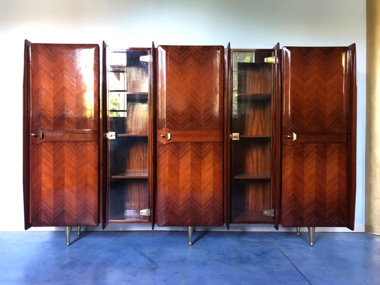 Mid-20th Century Italian Midcentury Teakwood Sideboard or Bookcase by Vittorio Dassi, 1950s For Sale