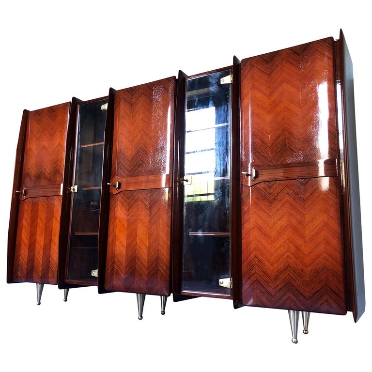 Italian Midcentury Teakwood Sideboard or Bookcase by Vittorio Dassi, 1950s For Sale