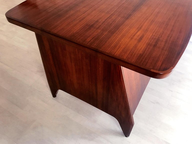Italian Midcentury Teakwood Writing Desk by Vittorio Dassi, 1950s 6