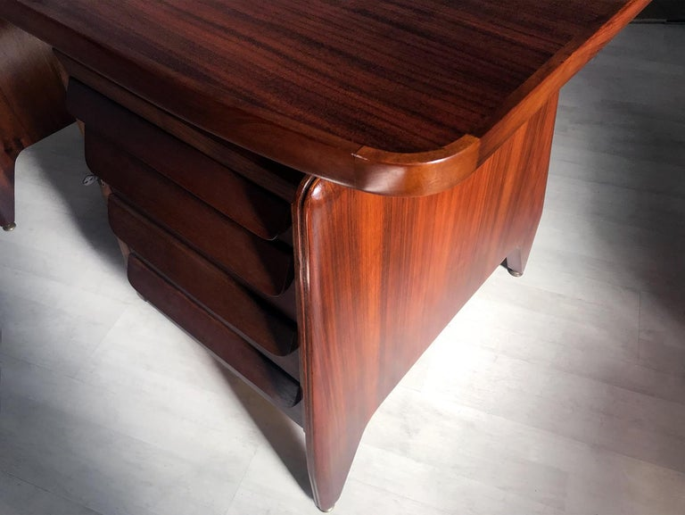 Italian Midcentury Teakwood Writing Desk by Vittorio Dassi, 1950s 2