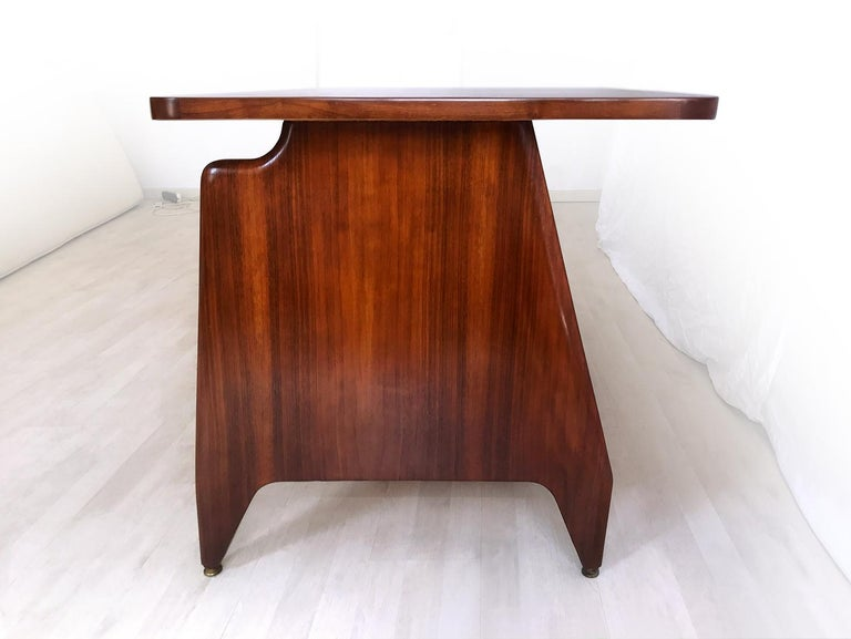 Italian Midcentury Teakwood Writing Desk by Vittorio Dassi, 1950s 4
