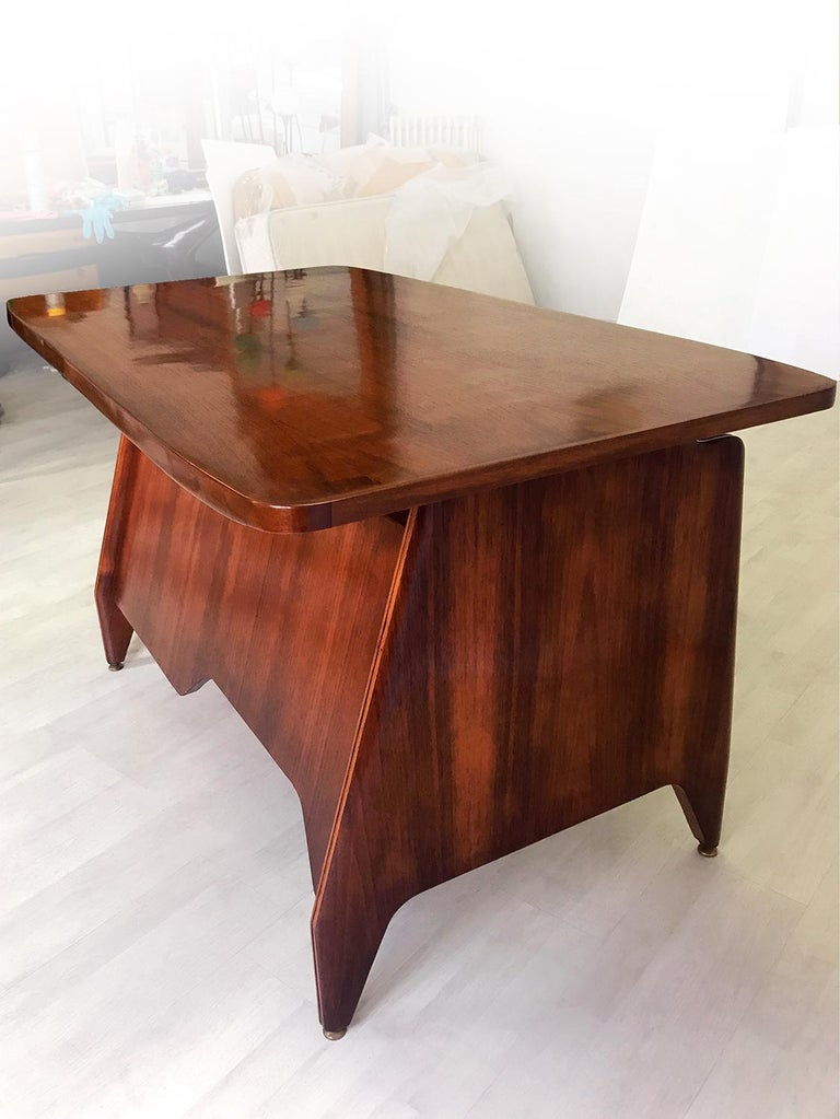 Italian Midcentury Teakwood Writing Desk by Vittorio Dassi, 1950s 11