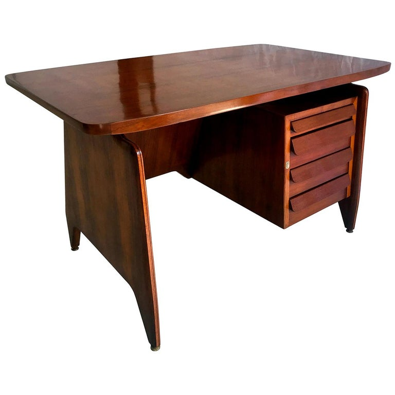 Italian Midcentury Teakwood Writing Desk by Vittorio Dassi, 1950s