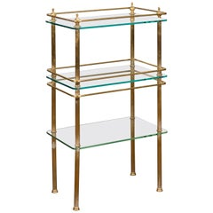Italian Midcentury Tiered Brass Side Table with Glass Shelves and Petite Finials
