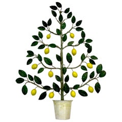 Italian Midcentury Tole Wall Sculpture of a Lemon Tree