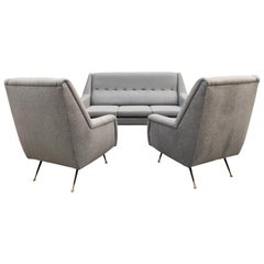 Italian Midcentury Tufted Sofa and Chairs by Gio Ponti