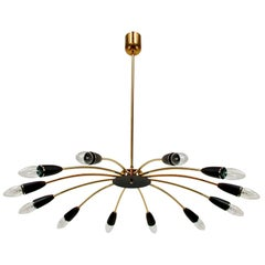 Italian Midcentury Twelve-Light Sputnik Chandelier in the Manner of Stilnovo