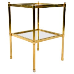 Italian Midcentury Two-Tier Brass and Glass Side Table