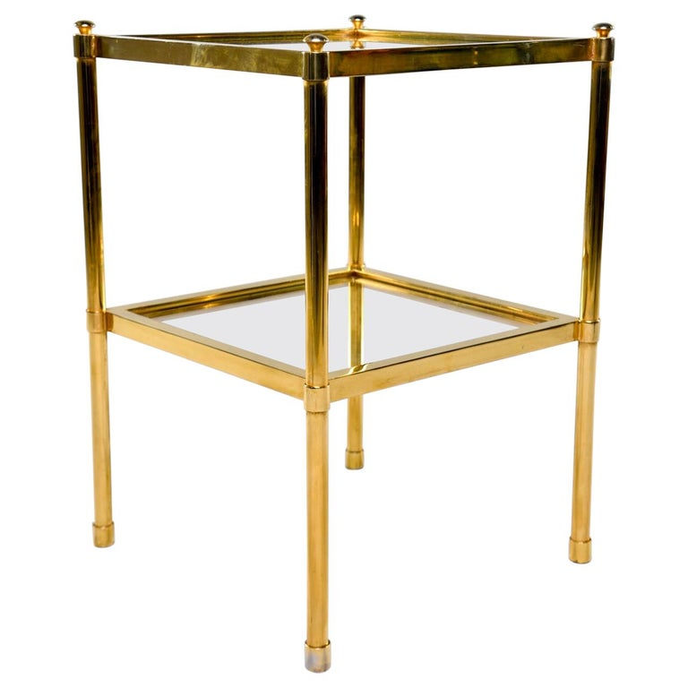 Italian Midcentury Two-Tier Brass and Glass Side Table For Sale
