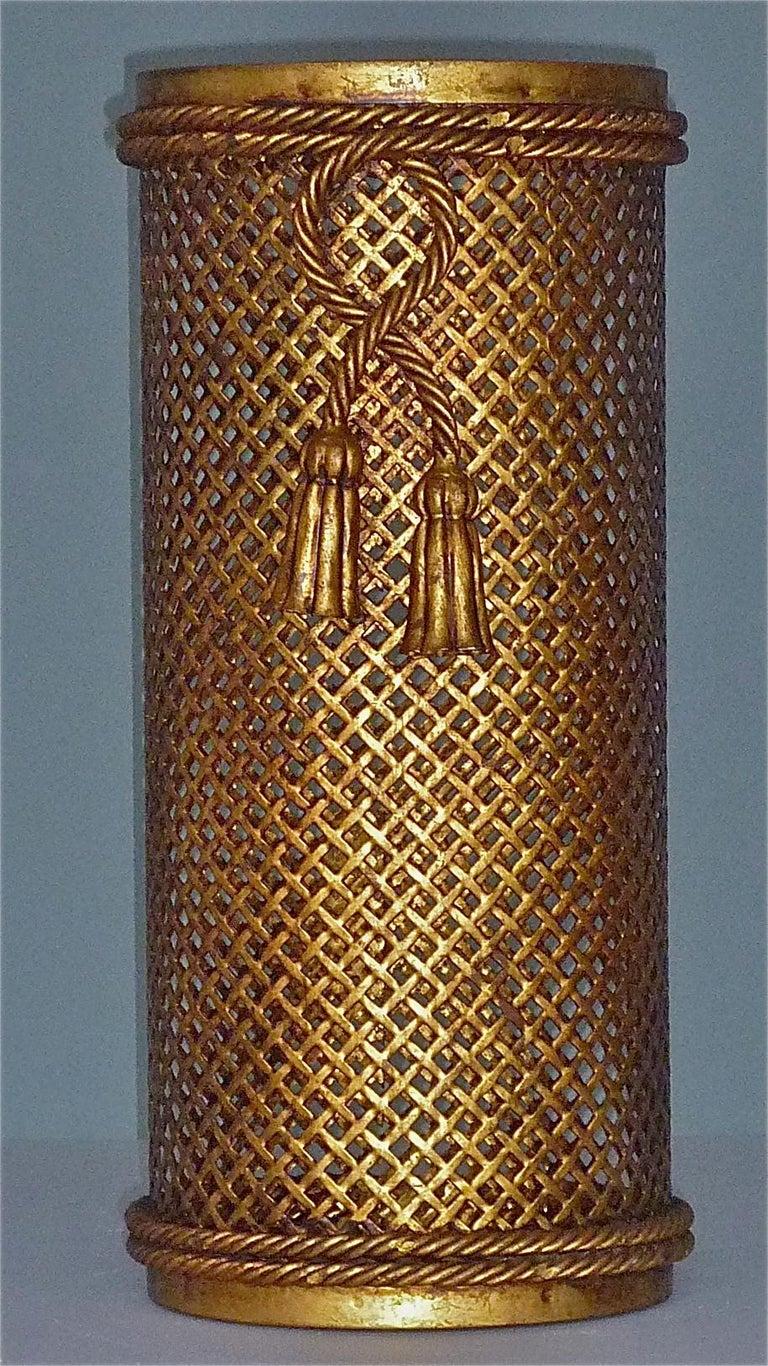 Italian Midcentury Umbrella Stand Basket Gilt Woven Metal Hans Kögl Style, 1950s For Sale 8