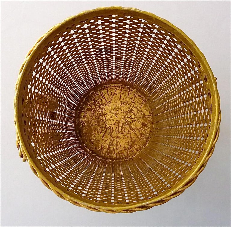 Italian Midcentury Umbrella Stand Gilt Perforated Metal, Hans Kögl Style, 1950s For Sale 5