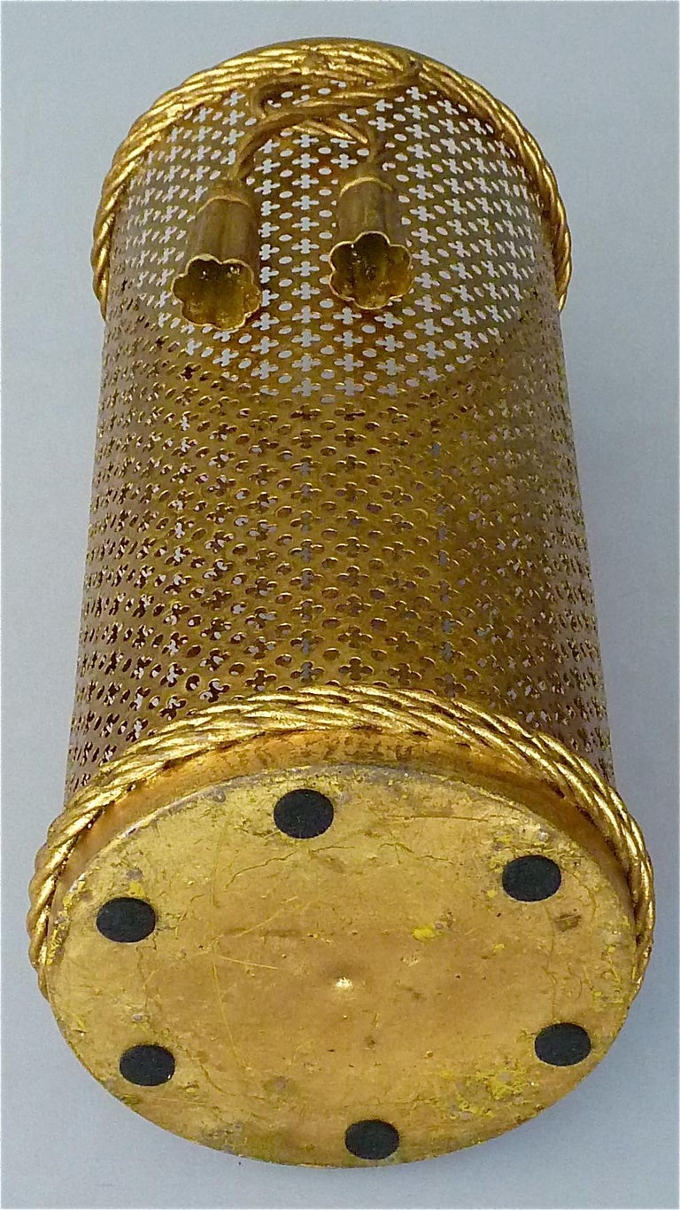 Italian Midcentury Umbrella Stand Gilt Perforated Metal, Hans Kögl Style, 1950s For Sale 6