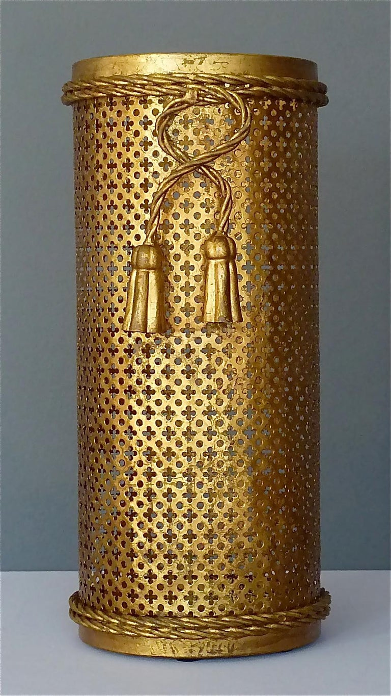 Italian Midcentury Umbrella Stand Gilt Perforated Metal, Hans Kögl Style, 1950s For Sale 8