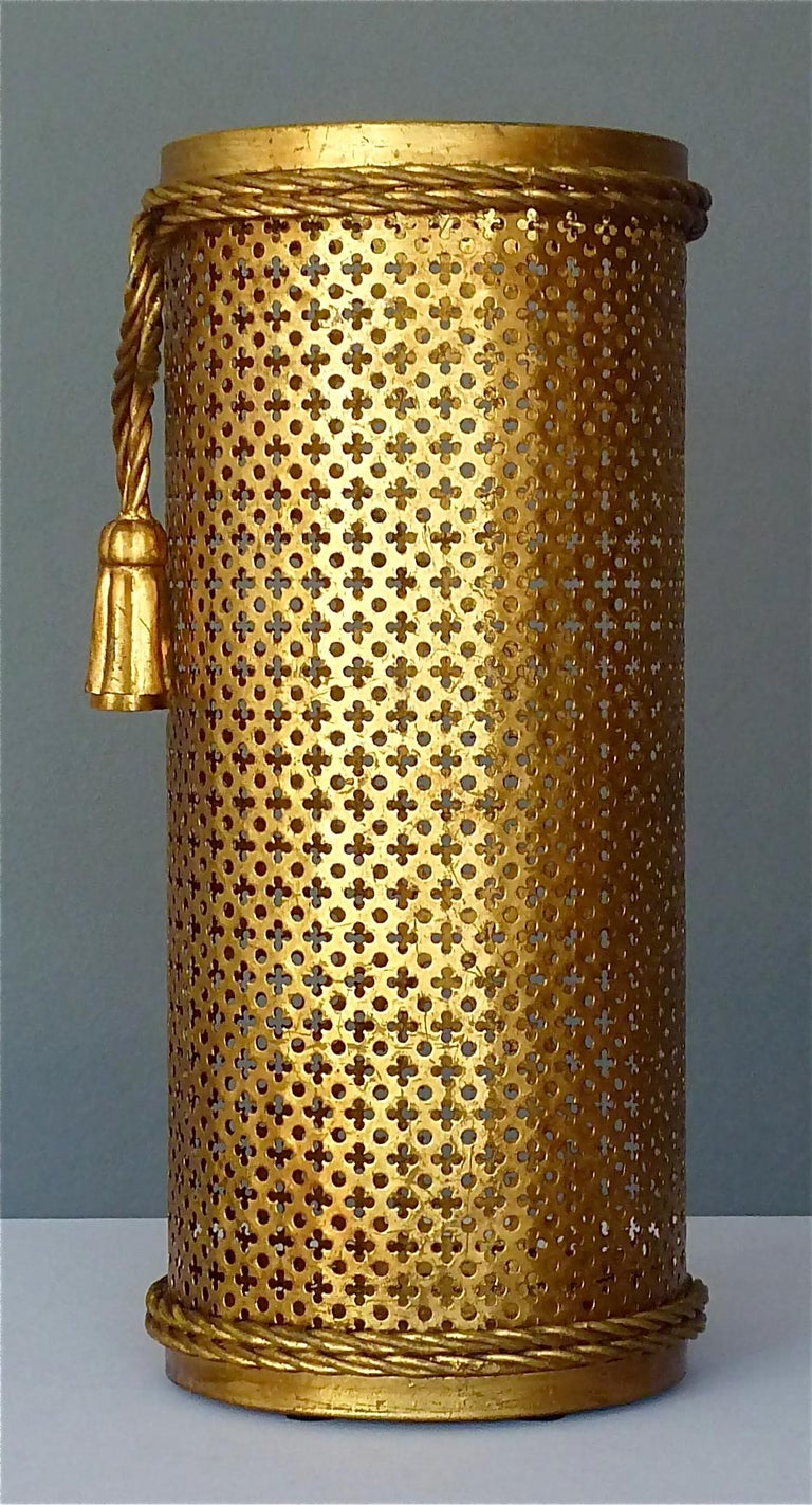Mid-20th Century Italian Midcentury Umbrella Stand Gilt Perforated Metal, Hans Kögl Style, 1950s For Sale