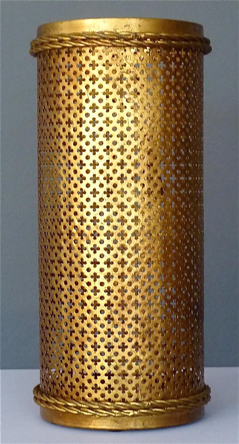 Italian Midcentury Umbrella Stand Gilt Perforated Metal, Hans Kögl Style, 1950s For Sale 1