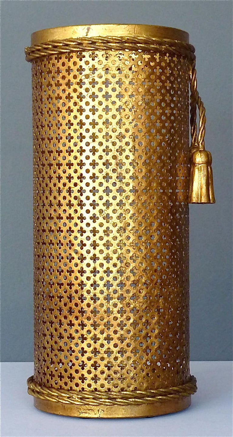 Italian Midcentury Umbrella Stand Gilt Perforated Metal, Hans Kögl Style, 1950s For Sale 2