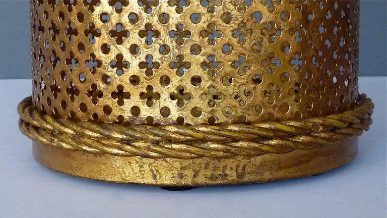 Italian Midcentury Umbrella Stand Gilt Perforated Metal, Hans Kögl Style, 1950s For Sale 3