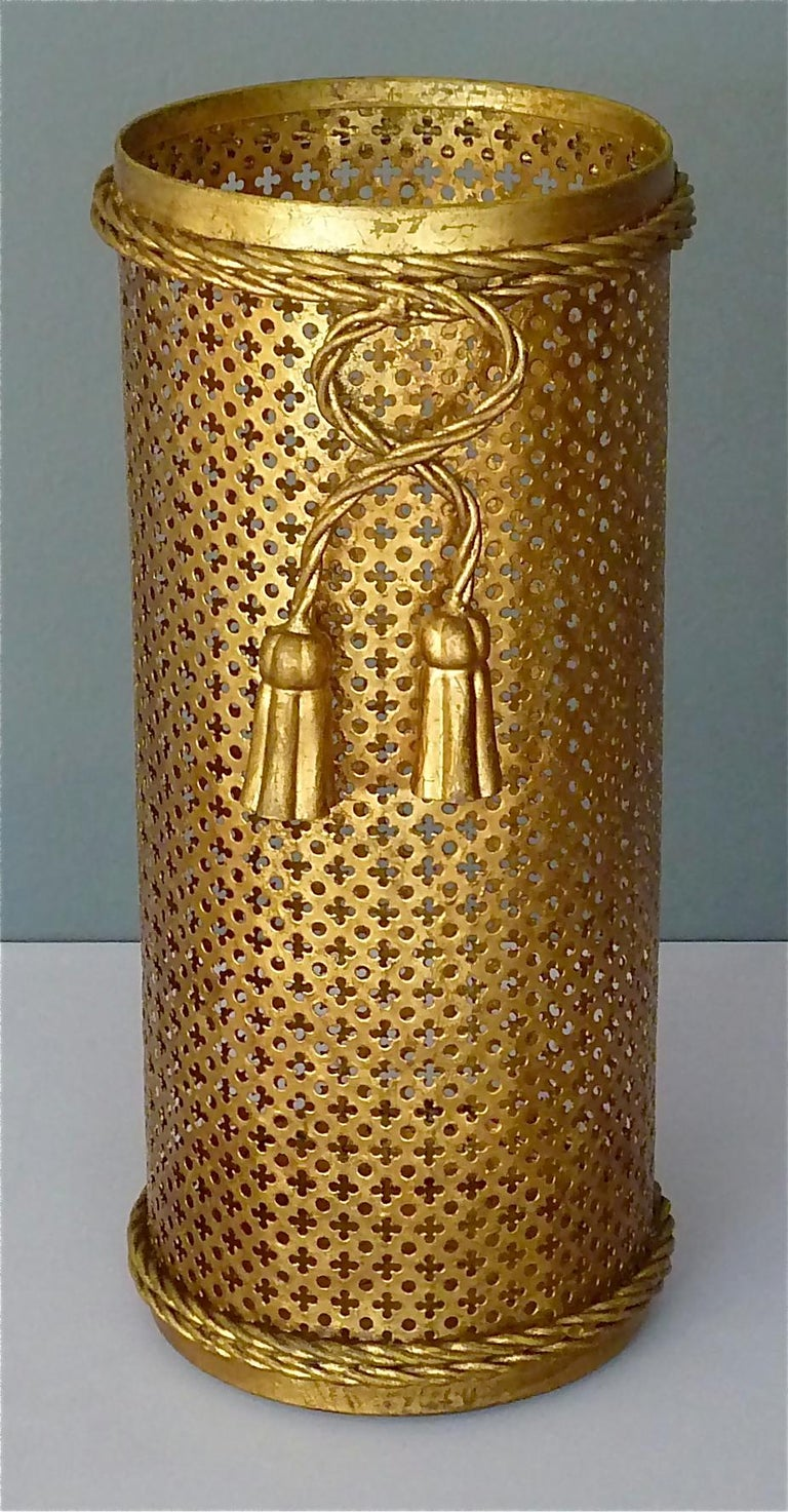 Italian Midcentury Umbrella Stand Gilt Perforated Metal, Hans Kögl Style, 1950s For Sale 4