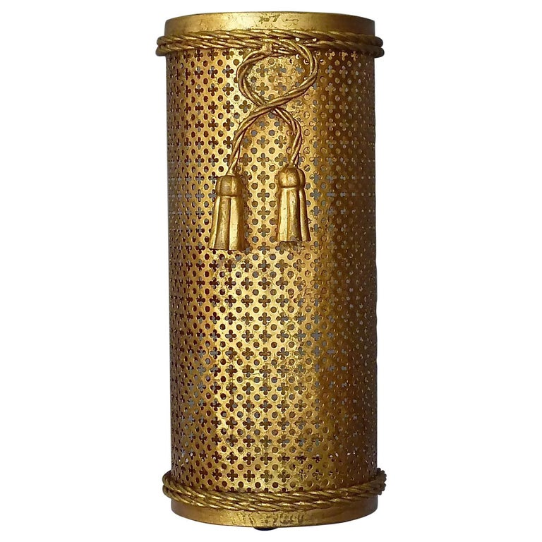 Italian Midcentury Umbrella Stand Gilt Perforated Metal, Hans Kögl Style, 1950s For Sale