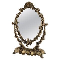 Italian Midcentury Vanity Dressing Table Mirror in Bronze with Angels, 1950s