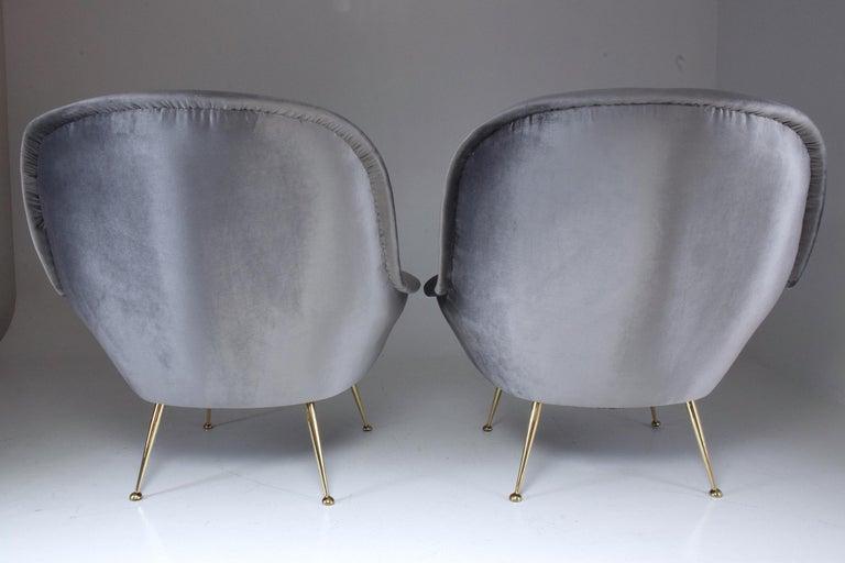 Italian Midcentury Velvet Armchairs Set by ISA Bergamo, 1950s For Sale 5