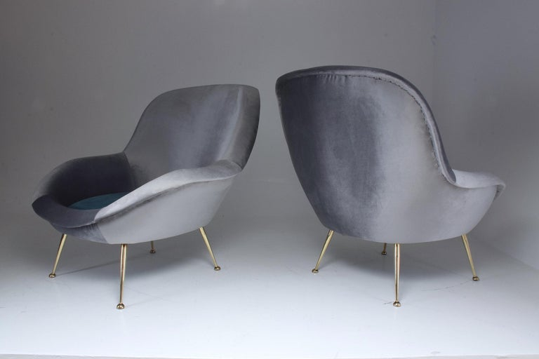 Mid-Century Modern Italian Midcentury Velvet Armchairs Set by ISA Bergamo, 1950s For Sale