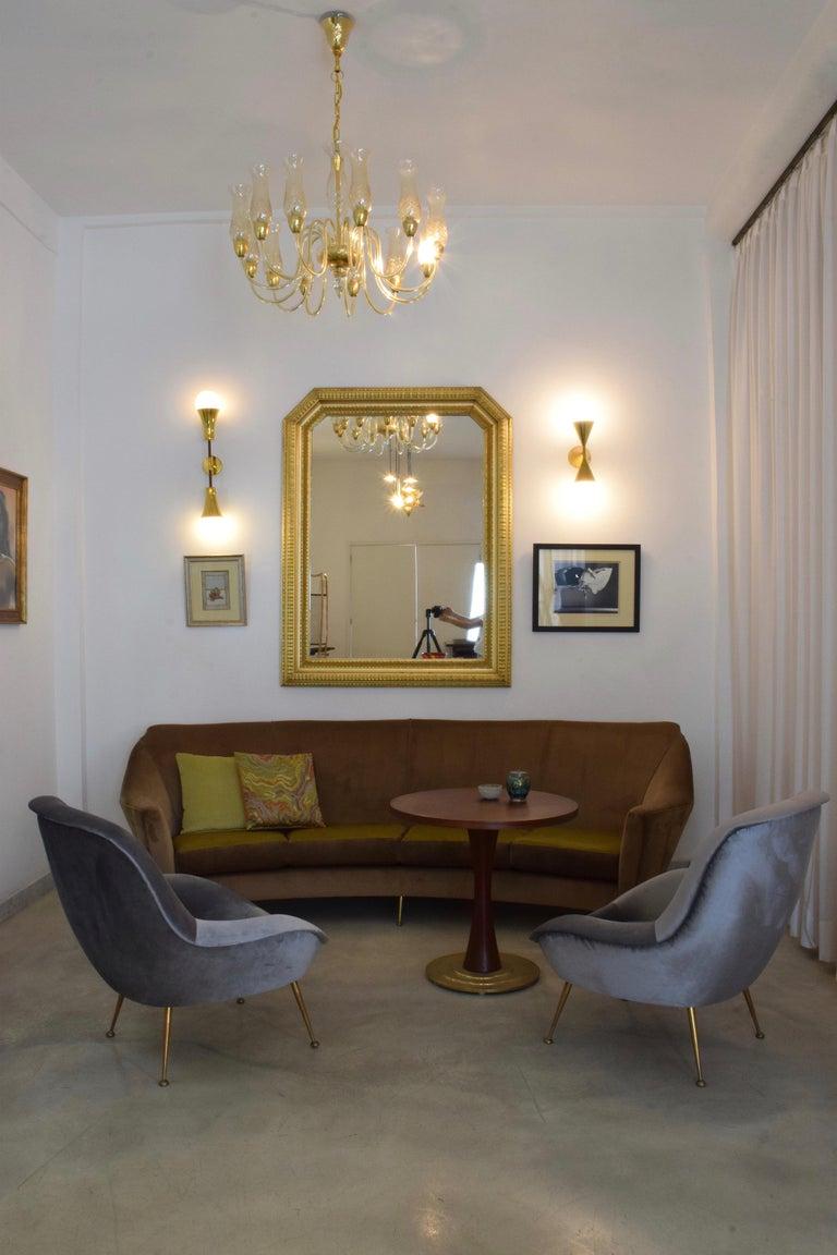 Italian Midcentury Velvet Armchairs Set by ISA Bergamo, 1950s For Sale 7