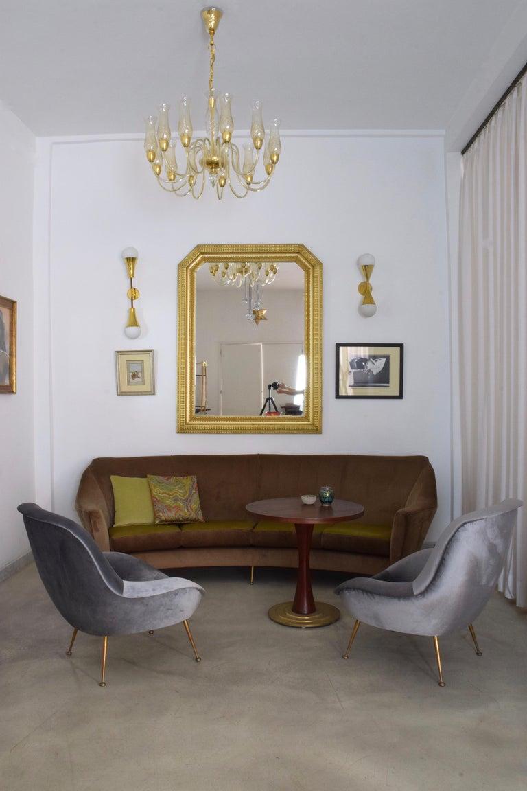 Italian Midcentury Velvet Armchairs Set by ISA Bergamo, 1950s In Good Condition For Sale In Paris, FR