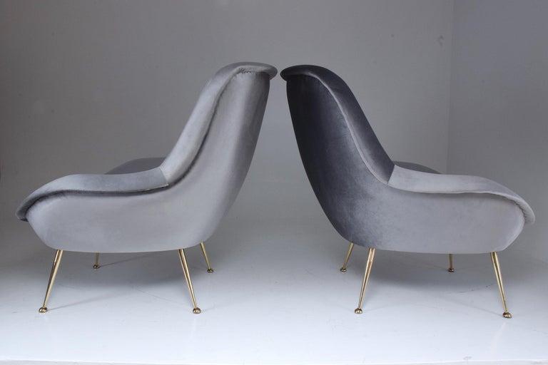 20th Century Italian Midcentury Velvet Armchairs Set by ISA Bergamo, 1950s For Sale