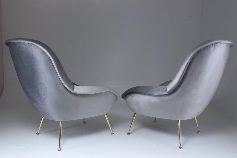 Brass Italian Midcentury Velvet Armchairs Set by ISA Bergamo, 1950s For Sale