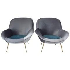 Italian Midcentury Velvet Armchairs Set by ISA Bergamo, 1950s