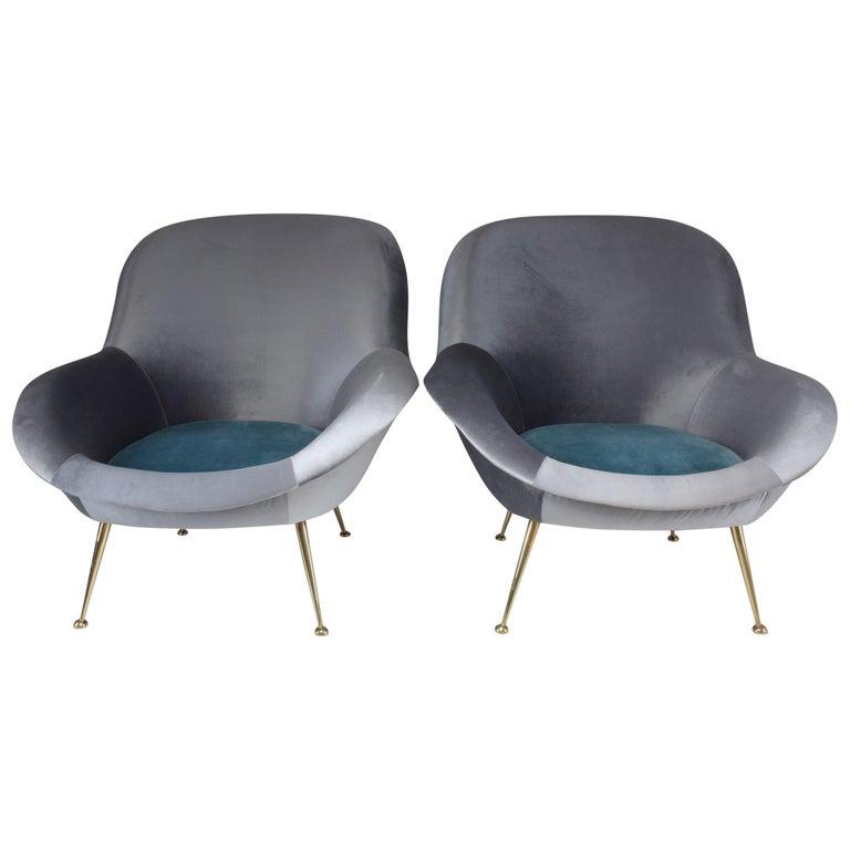 Italian Midcentury Velvet Armchairs Set by ISA Bergamo, 1950s For Sale