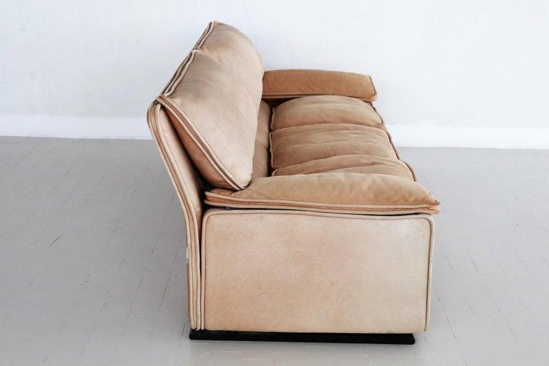 Italian Midcentury Vintage Nappa Leather Sofa by Ferruccio Brunati, 1970s For Sale 5
