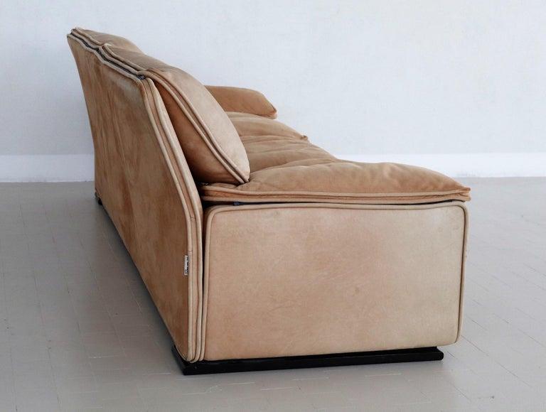 Italian Midcentury Vintage Nappa Leather Sofa by Ferruccio Brunati, 1970s For Sale 6