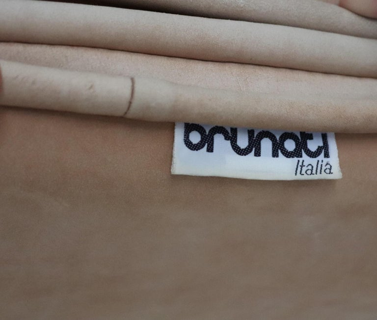 Italian Midcentury Vintage Nappa Leather Sofa by Ferruccio Brunati, 1970s For Sale 7