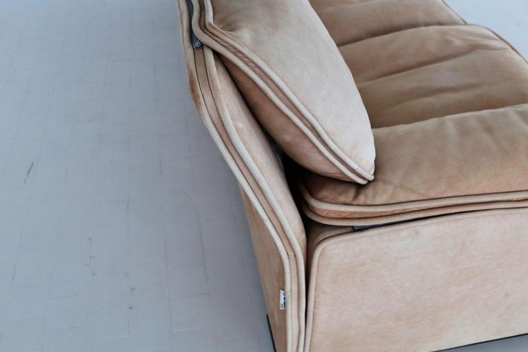 Italian Midcentury Vintage Nappa Leather Sofa by Ferruccio Brunati, 1970s For Sale 8