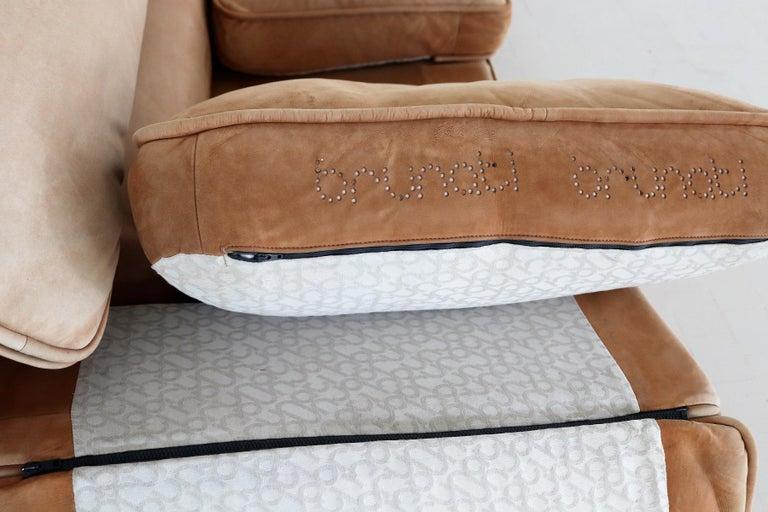 Italian Midcentury Vintage Nappa Leather Sofa by Ferruccio Brunati, 1970s For Sale 9