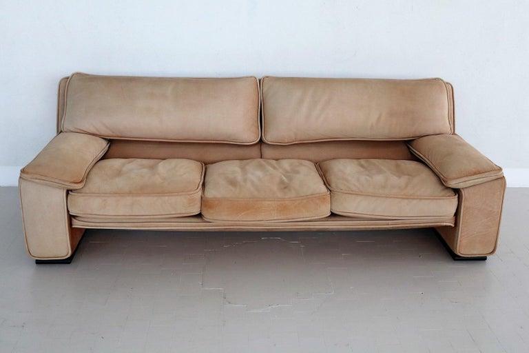 Italian Midcentury Vintage Nappa Leather Sofa by Ferruccio Brunati, 1970s For Sale 11