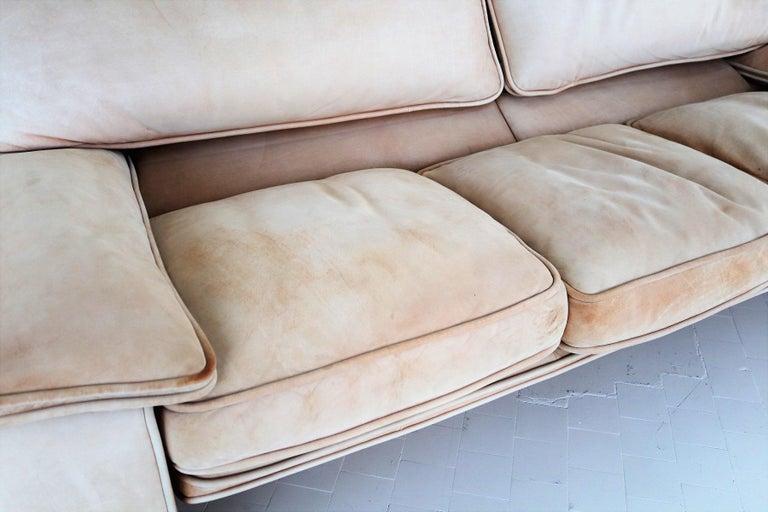 Italian Midcentury Vintage Nappa Leather Sofa by Ferruccio Brunati, 1970s For Sale 12