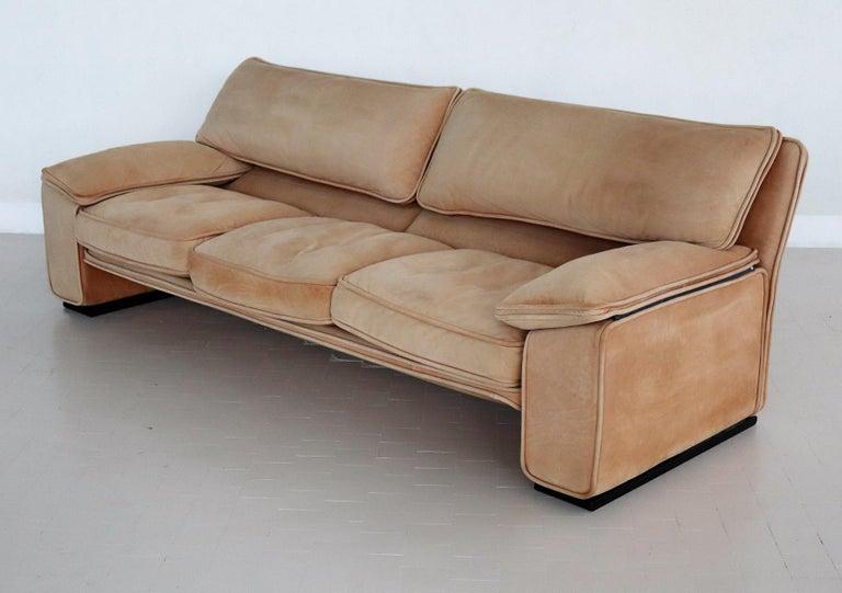 Italian Midcentury Vintage Nappa Leather Sofa by Ferruccio Brunati, 1970s For Sale 13