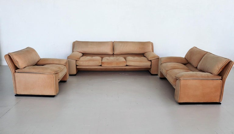 Mid-Century Modern Italian Midcentury Vintage Nappa Leather Sofa by Ferruccio Brunati, 1970s For Sale