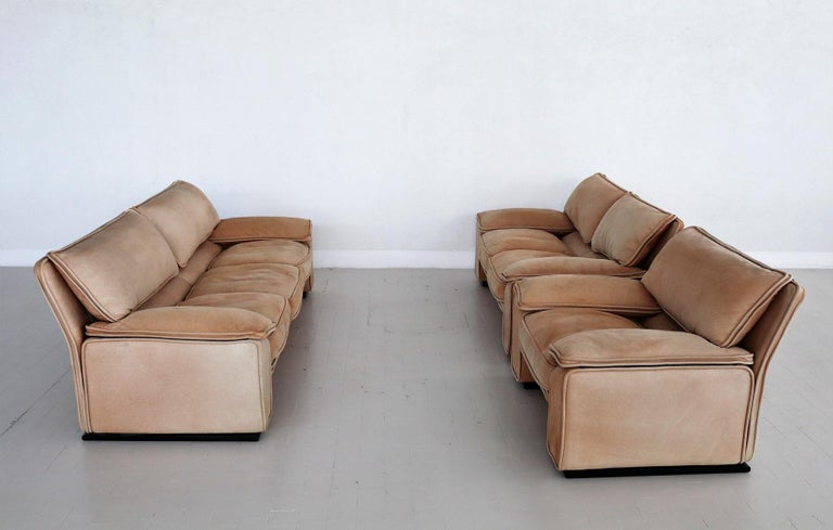 Late 20th Century Italian Midcentury Vintage Nappa Leather Sofa by Ferruccio Brunati, 1970s For Sale