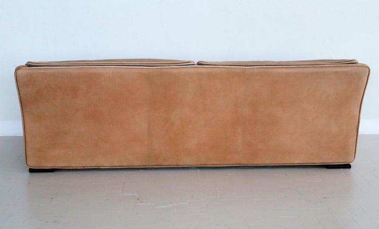 Italian Midcentury Vintage Nappa Leather Sofa by Ferruccio Brunati, 1970s For Sale 2