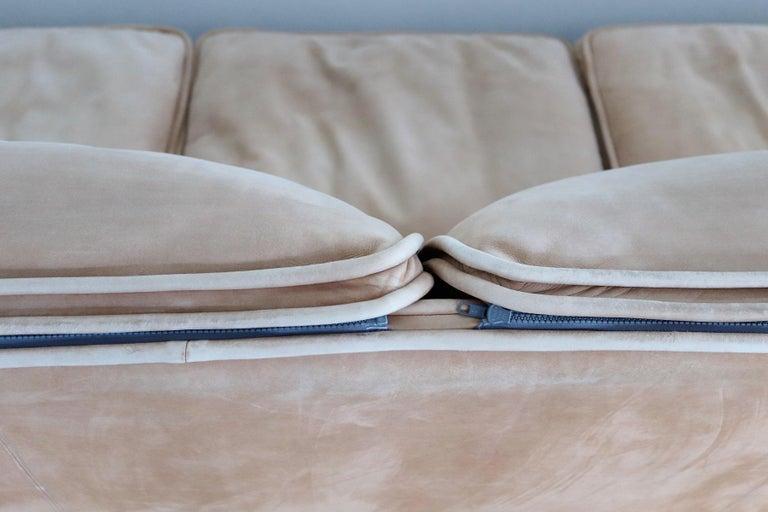 Italian Midcentury Vintage Nappa Leather Sofa by Ferruccio Brunati, 1970s For Sale 3