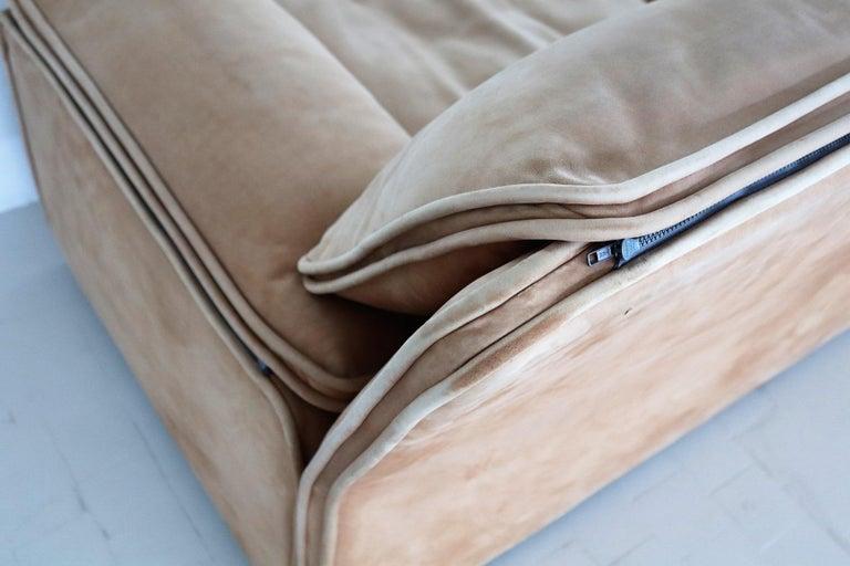 Italian Midcentury Vintage Nappa Leather Sofa by Ferruccio Brunati, 1970s For Sale 4