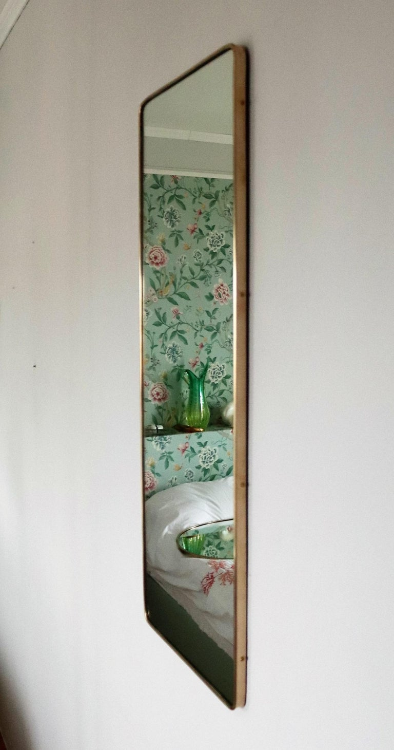 Italian Midcentury Vintage Wall Mirror with Original Brass Frame from the 1950s 1